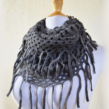 """Womens scarf """"Collette"""" in GREY with long fringe - shawl neckwarmer - accessories"""