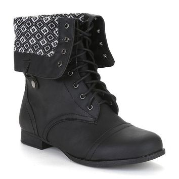 Twisted Womens Foldover Cuff Wide Width Wide Calf Zip Combat Boot with Side Snaps