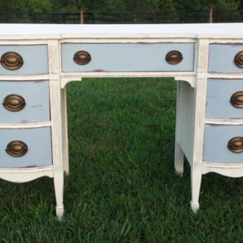 Refinished Annie Sloan Chalk Painted Vanity/Desk/Dresser Bow Front