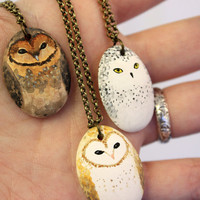Little Owl Necklace-  Earthenware ceramic owl totem necklace
