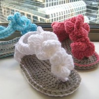 Crochet Pattern Baby Booties Orchid Sandals by CrochetBabyBoutique