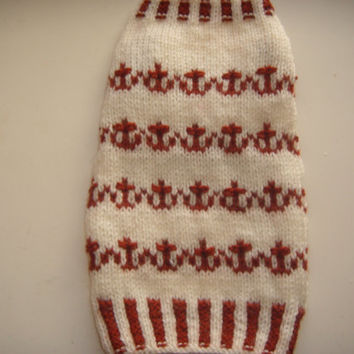 Dog clothes, dog jumper, hand knit in a cream and tan fair isle Anchors pattern,  Handmade, cutiedog, ideal for the little boy furbaby, cute