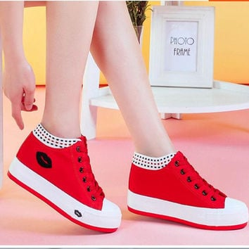 2015 new summer style sexy red lips student shoes women low canvas shoes cotton-made breathable casual flat shoes women shoes