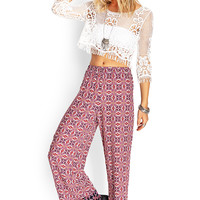 Abstract Floral Wide Leg Pants