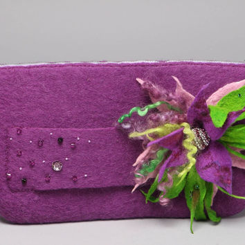 Felted wool clutch bag Handmade designer purse Ladies handbags Gift accessories