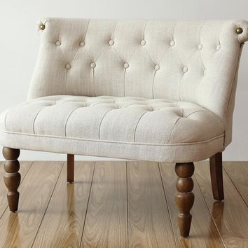 European Style Upholstered Loveseat Two Seater Sofa Living Room Furniture Modern Sofa Buttom Tufted Cushion Antique Wood Legs