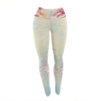 "Ebi Emporium ""Winter Dreamland 1"" Blue Maroon Yoga Leggings"