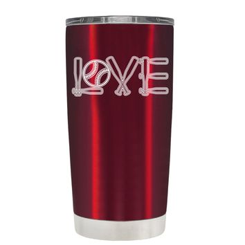 TREK Softball Love Ball and Bats on Translucent Red 20 oz Tumbler Cup