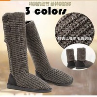 Bling Winter Knit Gray black camel Crocheted Knit Women's knee high Long boots winter