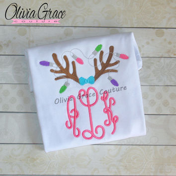 Girls Christmas Shirt, Girls Reindeer Shirt, Monogram Christmas Shirt, Twin Christmas,  Embroidered Applique Baby Bodysuit or Girls Shirt