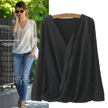 Chiffon Patchwork Long Sleeve T-shirts Women's Fashion Tops Bottoming Shirt [5013387268]