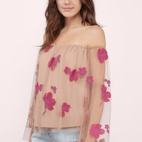 Gem Off Shoulder Embroidered Top