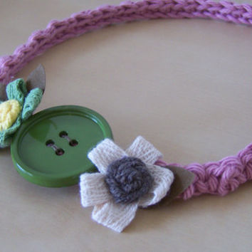 toddler girl headband, crochet headband, flower hair accessories, 12 to 24 months
