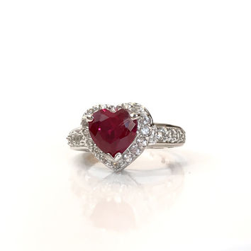 3 CT Ruby Sterling Silver Heart Ring White Sapphire Valentine Gift For Her Red Gemstone Ring Estate Spring Jewelry Ring Size 6
