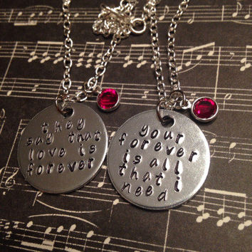 Sleeping With Sirens Lyrics Hand Stamped Couples/Best Friends Necklace Set
