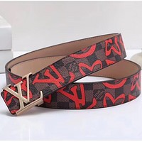 Louis Vuitton { LV } Woman Men Fashion Smooth Buckle Belt Leather Belt