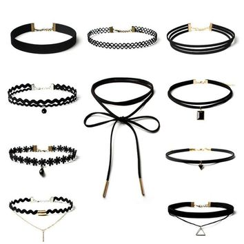 New Brand Punk chockers Necklace Women Black velvet Lace for womens Choker Necklaces Jeffreeing Star