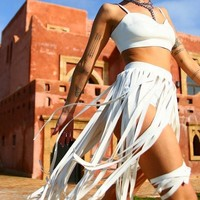 Tainted Love PVC White Tassel Two Piece