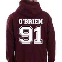 O`Brien 91 White Ink On Back Dylan Obrien Unisex Pullover Hoodie