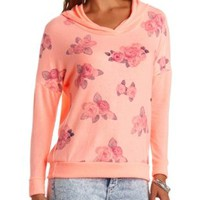 Neon Fuzzy Fleece Floral Print Hoodie by Charlotte Russe - Neon Coral
