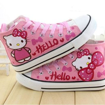 cartoon hello kitty cat kids shoes hand painted sneakers children boots boys flats school casual shoes for girl sandals shoes