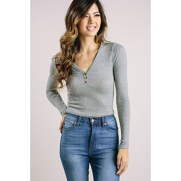 Elsie Heather Grey Henley Top