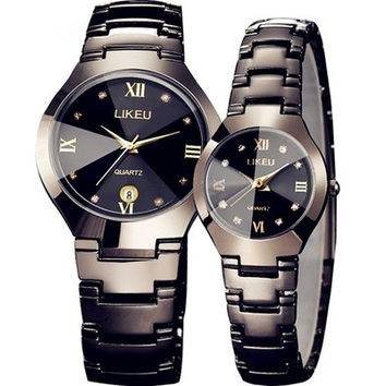 Fashion Creative Luxurious watches women watch waterproof ms han edition contracted watch male couple watches a quartz expression [8833440780]