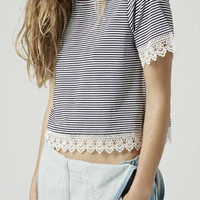 Striped Short Sleeve Cropped Top with Lace Accent