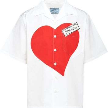 Oversize Heart Graphic Short Sleeve Button-Up by Prada