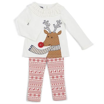 MUD PIE REINDEER TUNIC & LEGGINGS SET - Baby & Toddler Girl 6-9M,9-12M,12-18M,3T