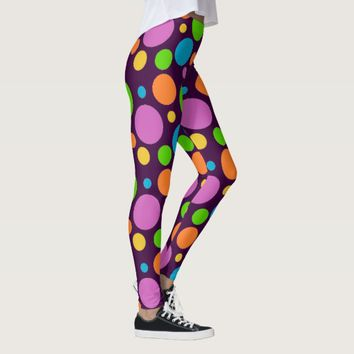 Fun Large Polka Dot Pattern on Dark Purple Leggings