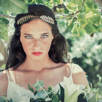 double greek leaf hair jewellery, laurel wreath, greek goddess, bridal headband, halo, wedding hair accessories