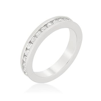 Jacey Round Channel Set Stackable Eternity Ring | 2 Carat | Cubic Zirconia | Silver
