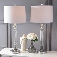 "Emma 29.5"" Crystal Table Lamp, Clear (Set of 2) by JONATHAN Y 