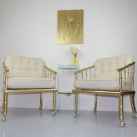 Hollywood Regency Gold Bamboo Lounge Chairs Barrel Club Chair White Cushions Mid Century Modern Seats Living Room Boutique Office Decor