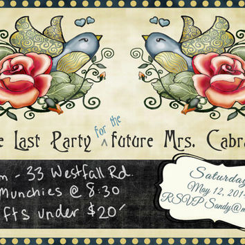 Rockabilly Tattoo Flash Bird and Roses Party Invitation Bachelorette Hens Night Sweet 16 Customized Personalized PDF print your own Cards