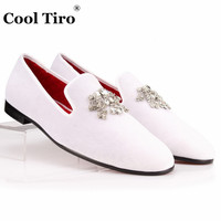 COOL TIRO Velvet Dress Shoes Men Loafers Rhinestones Crystal Tassel Slippers White Velour Luxury Banquet Men's Flats plus size