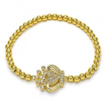 Gold Layered 03.207.0074.07 Fancy Bracelet, Crown and Heart Design, with White Cubic Zirconia, Polished Finish, Golden Tone