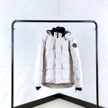 Canada goose Warm Winter Down Jacket Windproof Hooded Collar Men's Parka Male Big Coat Smart   Casual Covered Button