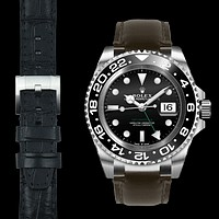 Steel End Link Leather Strap for Rolex GMT Master II Ceramic with Tang Buckle