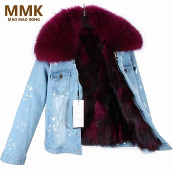 MaoMaoKong 2017 Women Winter Coat Large Raccoon Fur Collar Jacket Denim Real Fox Fur Lining Outwear Brand Style Parkas