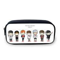 2016 South Korean design BTS cartoon pencil bag girl fans the best gift 3D picture students stationery bag girl's make-up bag