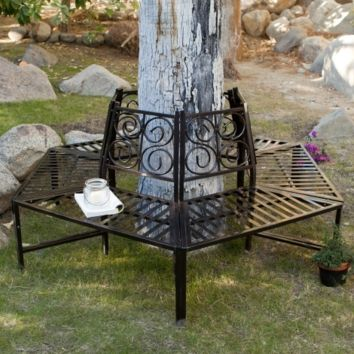 Tree Hugger Bench in All-Weather Black Metal