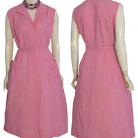 Nancy Wagner 1950s Pink Cotton Vintage Dress NWT L