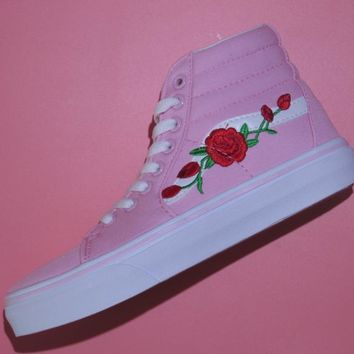 Vans&amp Women Rose Embroidery Series fashion casual shoes pink high help