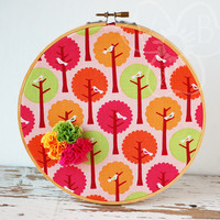 Chirping Birds handmade decorative hoop art from VioletsBuds