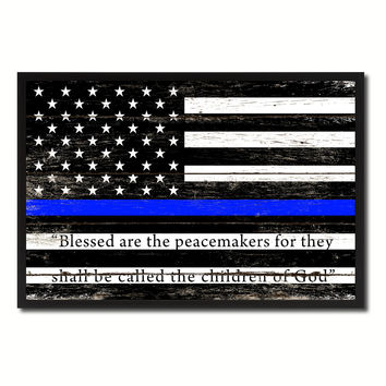 Law Enforcement Thin Blue Line USA Flag Vintage Canvas Print with Picture Frame Home Decor Man Cave Wall Art Collectible Decoration Artwork Gifts