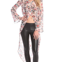 HIGH LOW FLORAL CHIFFON LONG SLEEVE TOP