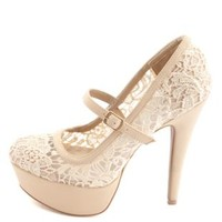 Lace Mary Jane Platform Pumps by Charlotte Russe - Beige