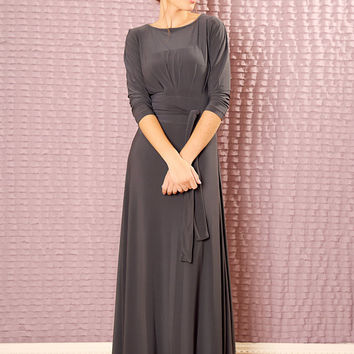 Custom  Bridesmaids dress with belt - made to order dress -  Modest maxi dress with sleeves